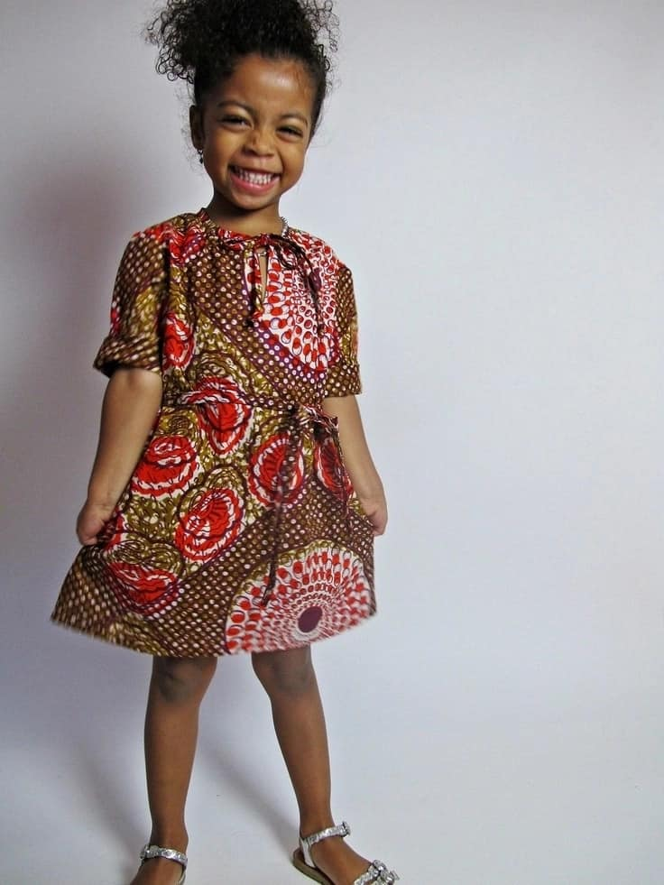 Ankara dress for a girl with simple tailoring