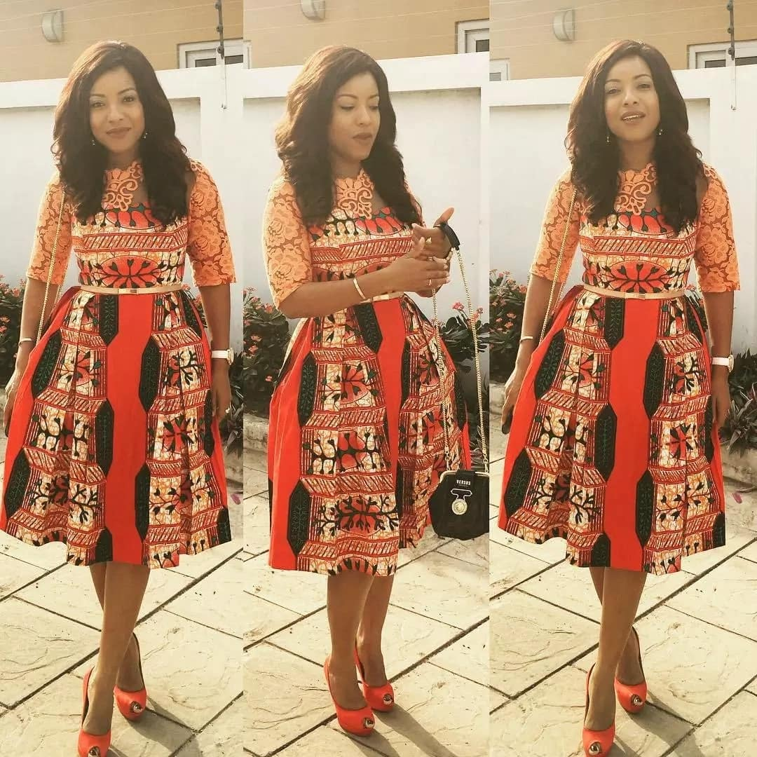 Ankara dress with lace coquettees and sleeves