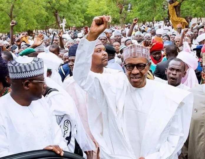 Shugaba Buhari a yayin ziyarar jihar Kano