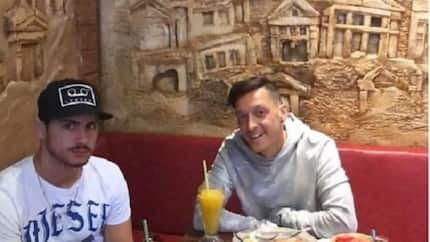 Mesut Ozil celebrates Arsenal's win over Watford in a spectacular way