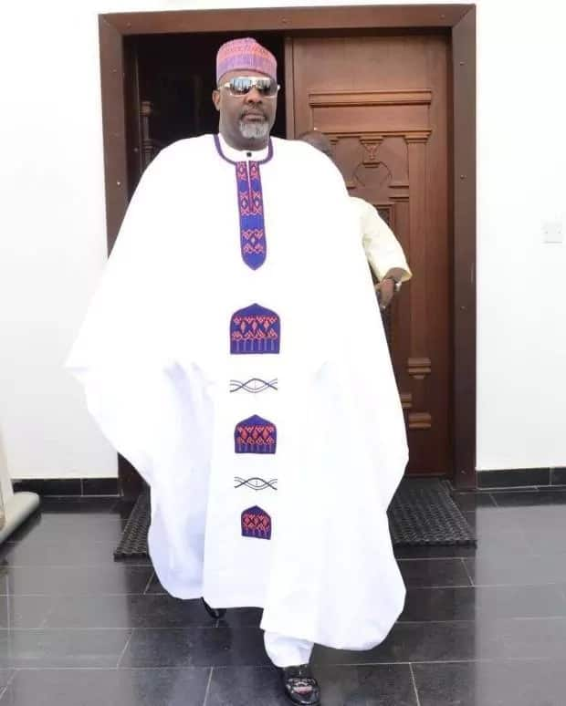 White Agbada style for men with colorful embroidery