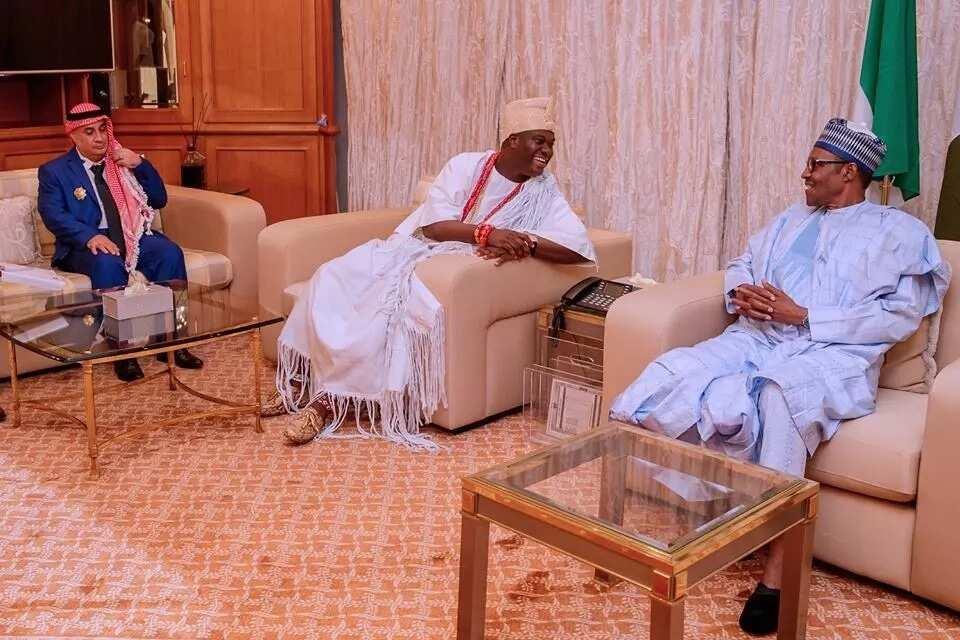 Just in: Ooni of Ife Oba Adeyeye Ogunwusi Ojaja II visits Buhari in Abuja (photos)