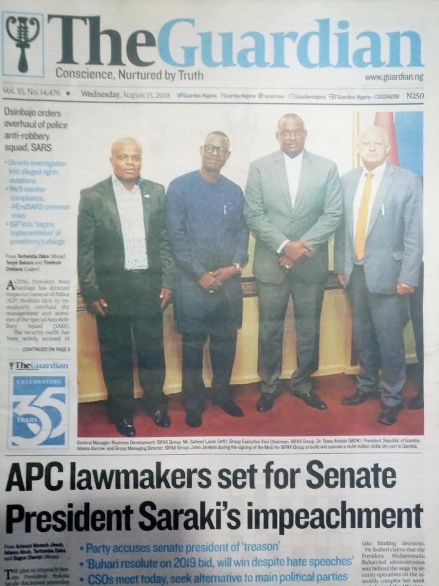 The Guardian newspaper for Wednesday, August 15. Photo credit: Snapshot from Legit.ng.