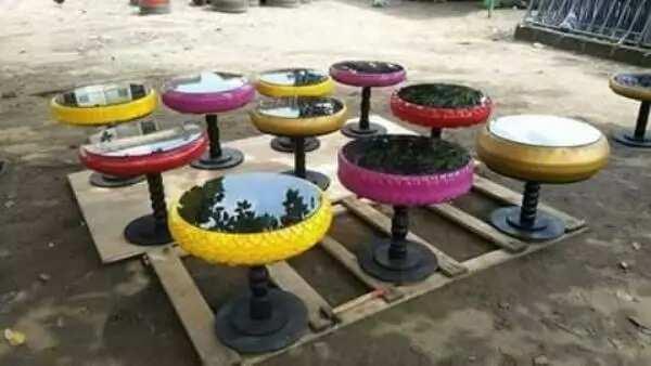 Talented Nigerian man transforms useless tyres into beautiful house furniture (photos)