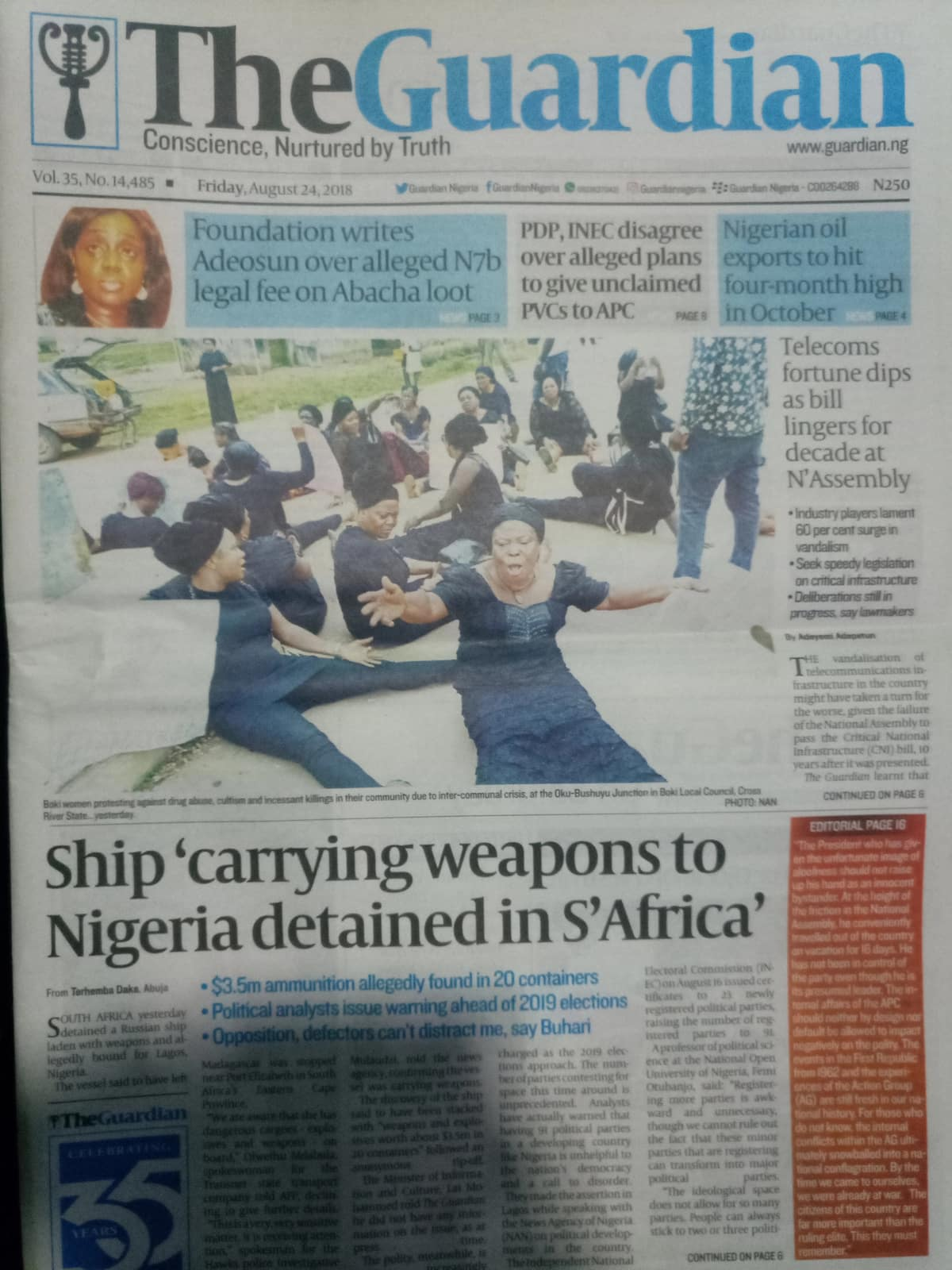 S/Africa detains Nigerian-bound ship laden with weapons worth $3.5m