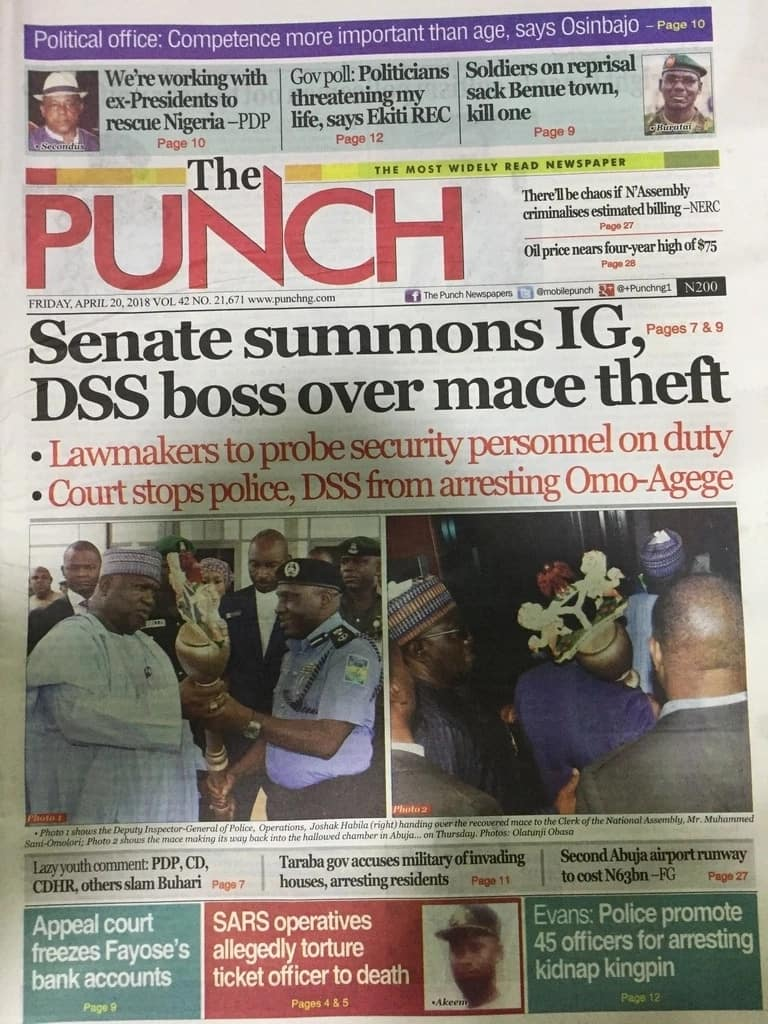 Newspaper Review: Senate summons IGP, DSS DG over mace theft