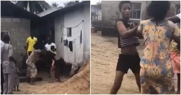 Lady beaten in Lagos for stealing pot of food from the stove (video)