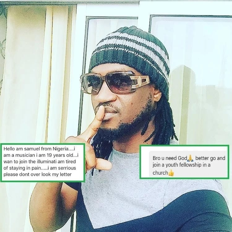LOL! Read Paul Okoye's advice to a fan who wants to join Illuminati