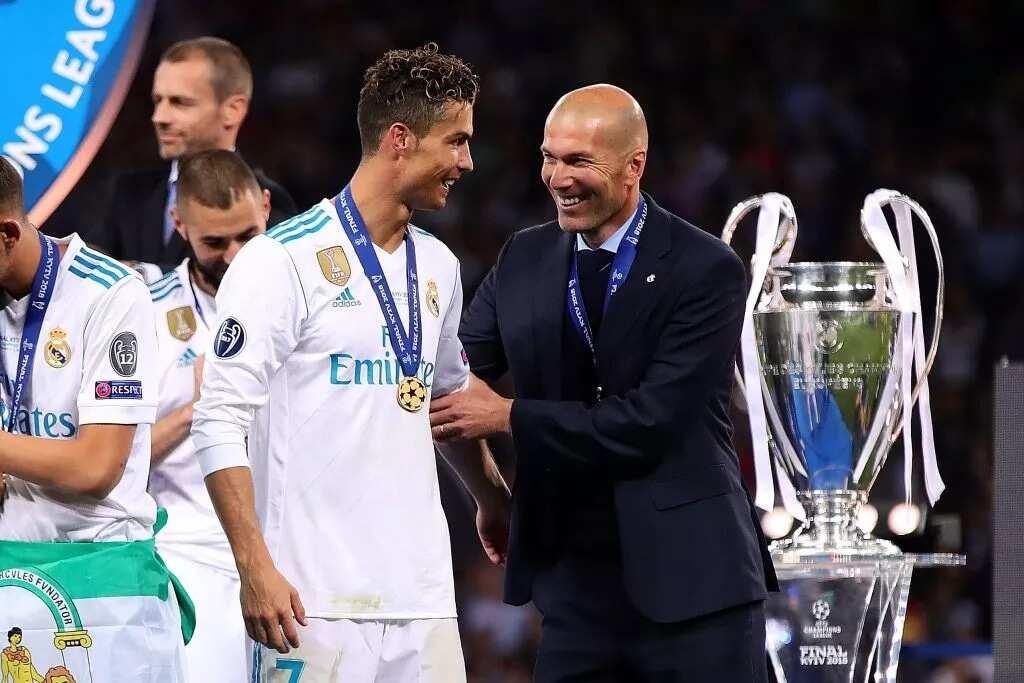 Zinedine Zidane and Cristiano Ronaldo after winning the UEFA Champions League last May. Photo Credit: Getty Images