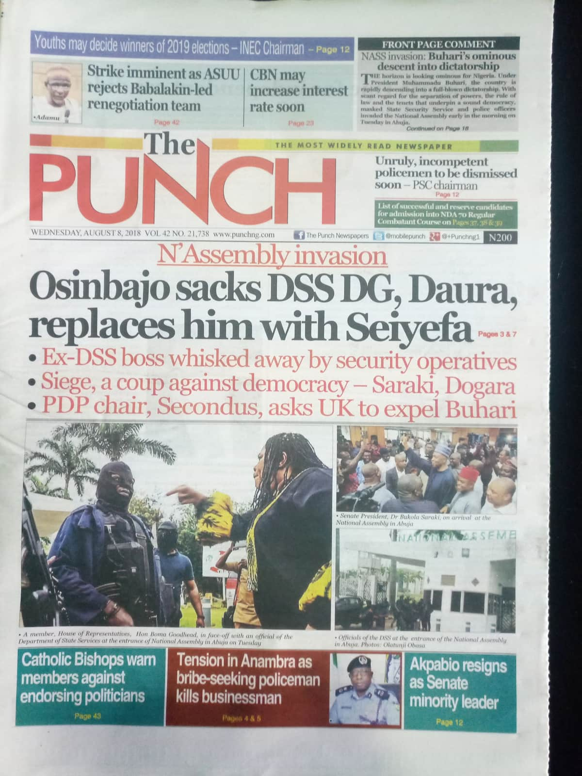 The Punch newspaper for Wednesday, August 8. Photo credit: snapshot from Legit.ng.