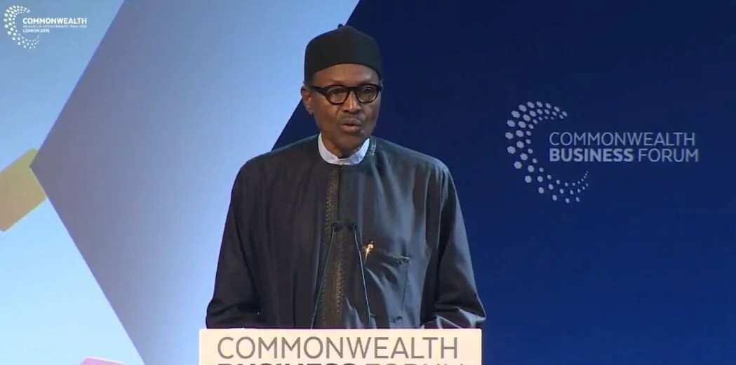 Shugaba Buhari yayin jawabai a taron Commonwealth a Birnin Landan