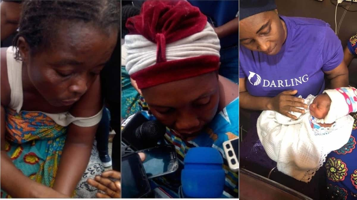 The suspects and the rescued baby. Photo source: The Nation