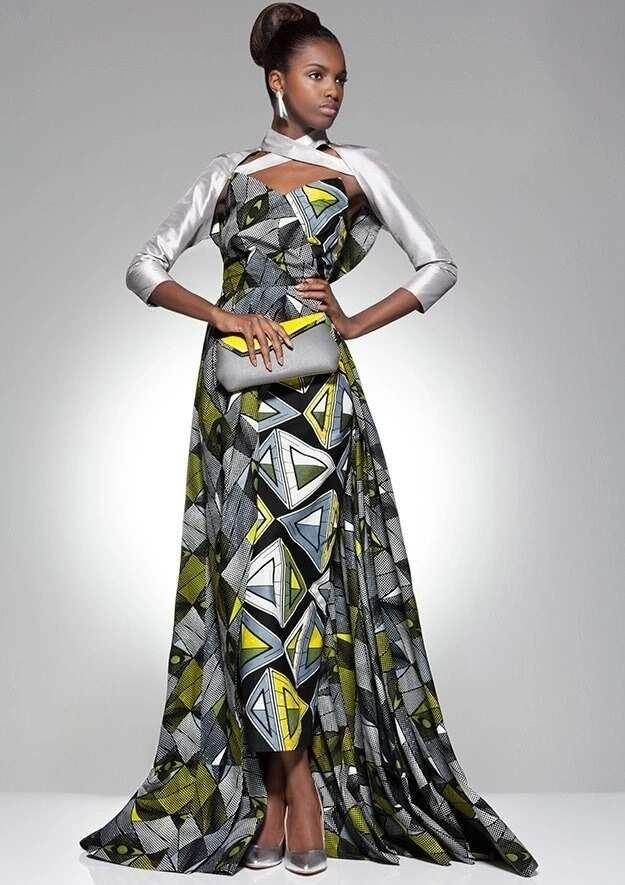 Ankara gown with long plain sleeves