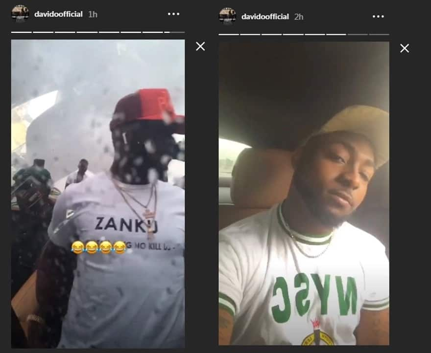 Davido rains money on fans as he arrives NYSC orientation camp in Lagos (photos)