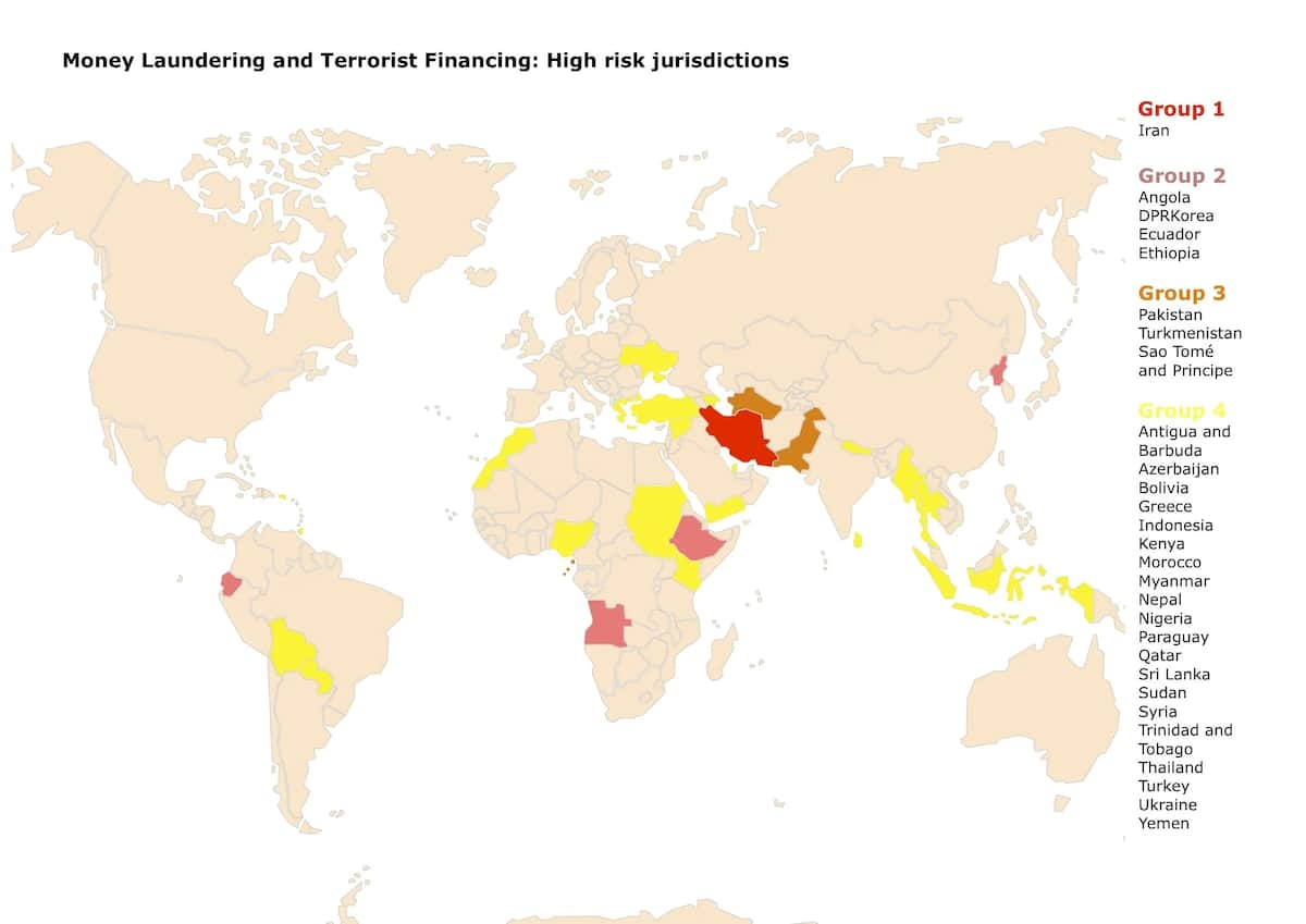 Countries with high risk of money laundering