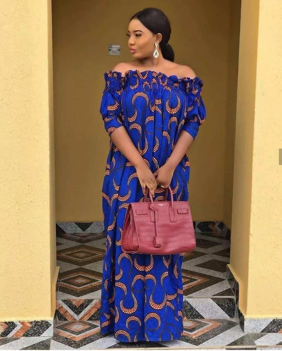 Blue long asual ankara gown