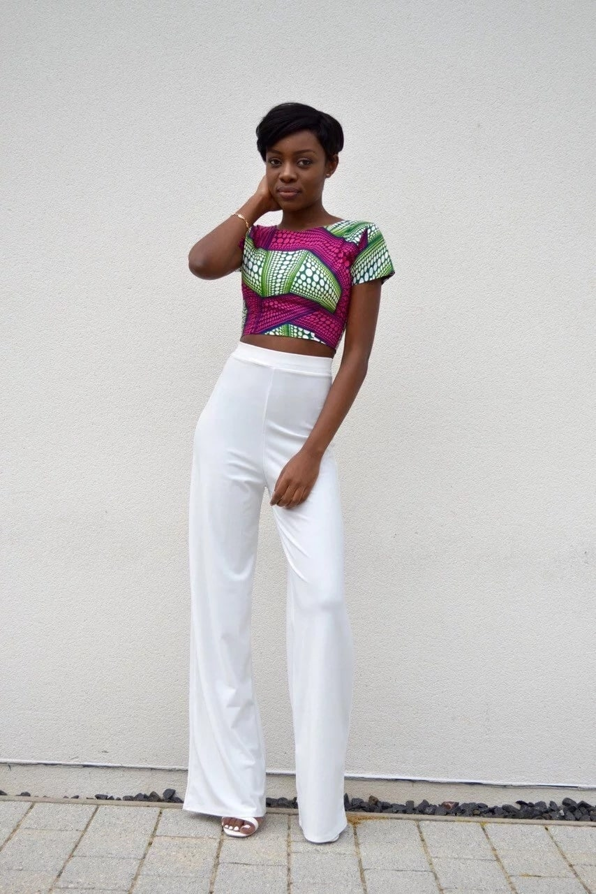 Ankara tight crop top and wide trousers