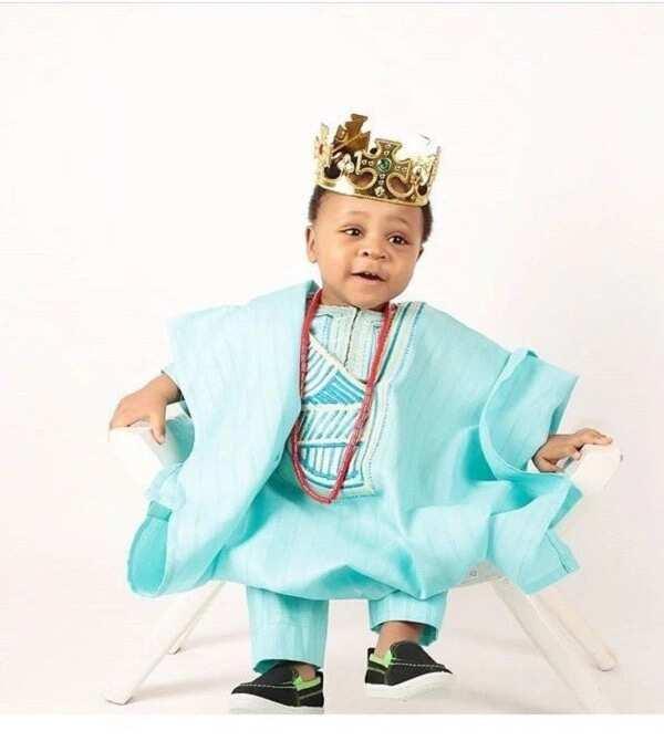 Baby boy turquoise Agbada Style