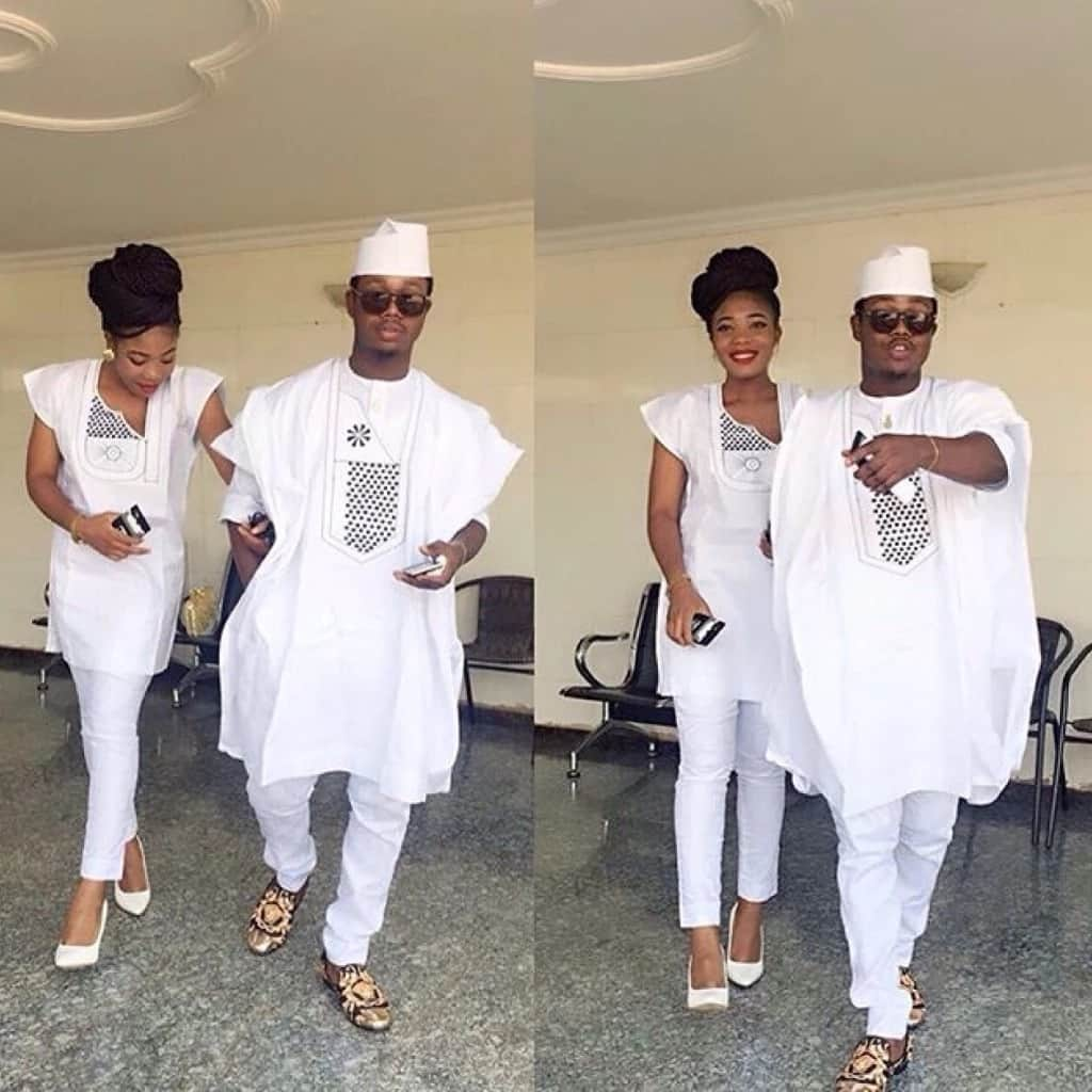 White Agbada styles for guys and ladies