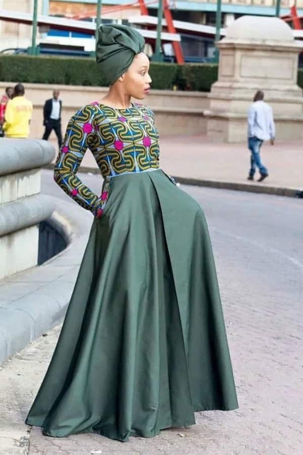 Latest Ankara long gown with sleeves