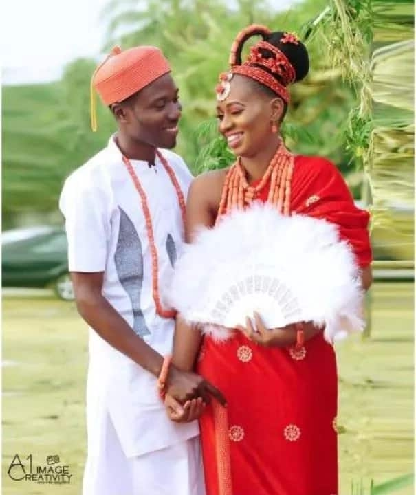 Nigerian couple who met in school ties the knot in Edo state (photos)