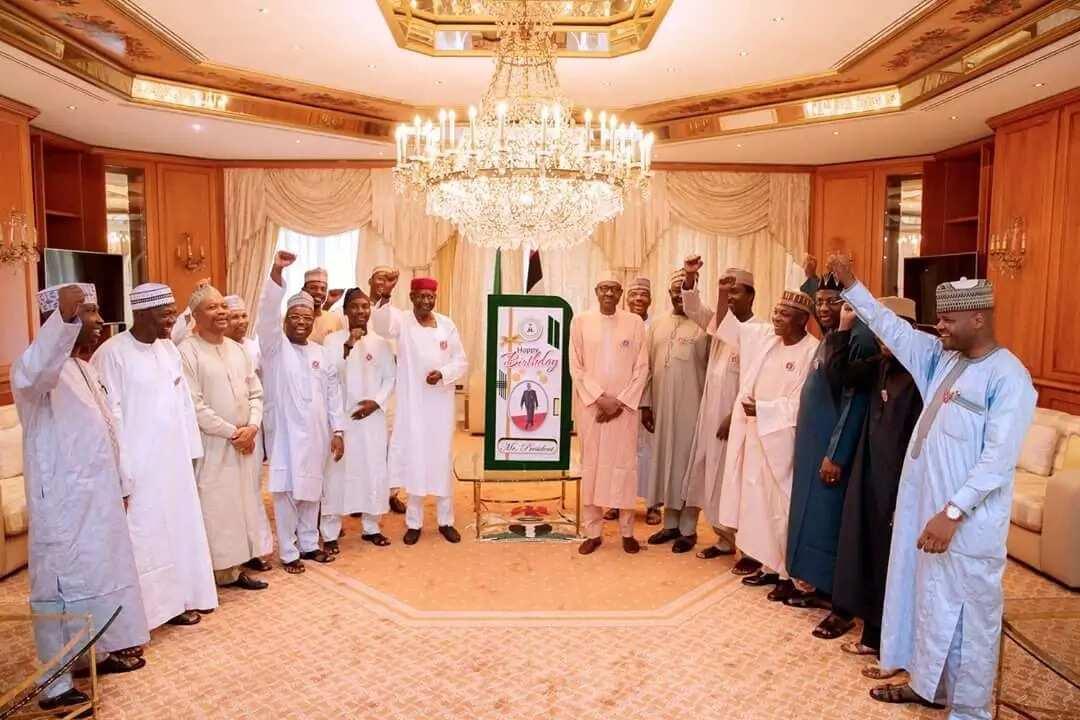 Abba Kyari, Garba Shehu others honour Buhari at Villa with a giant card as he marks 75th birthday (photos, video)