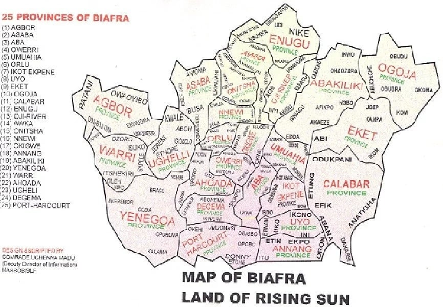 The 25 provinces of the proposed Biafra state