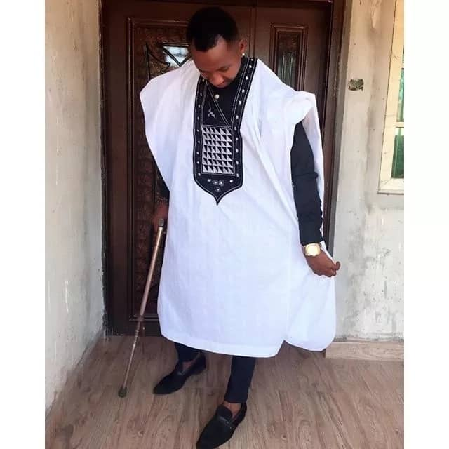 White Agbada style for guys with black embroidery