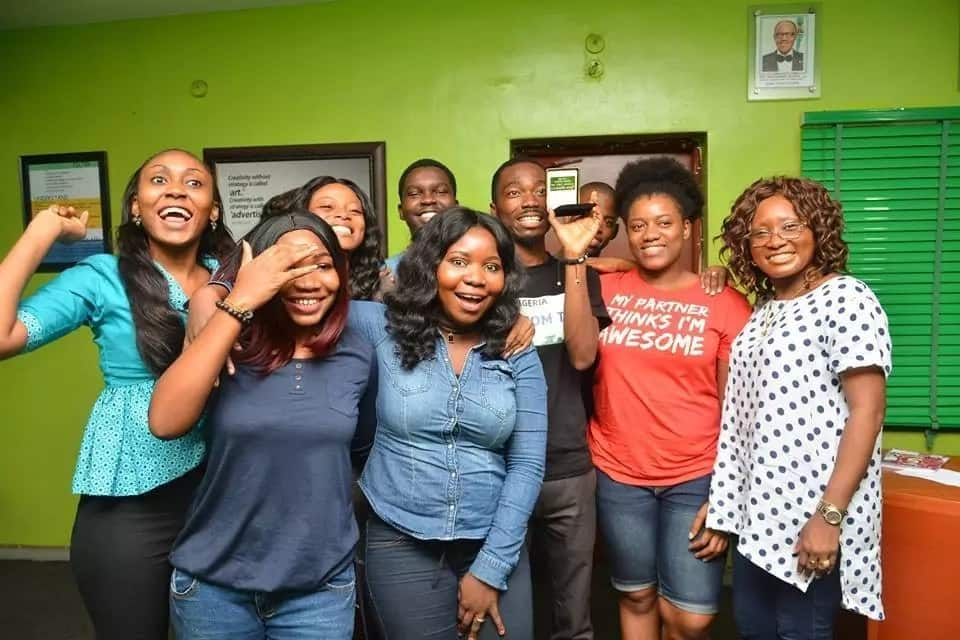 Legit.ng's staff during the award presentation at the head office in Lagos on July 28