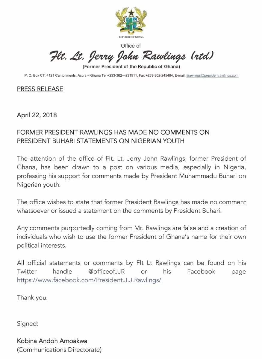 Jerry Rawlings denies supporting Buhari's statement on Nigerian youths