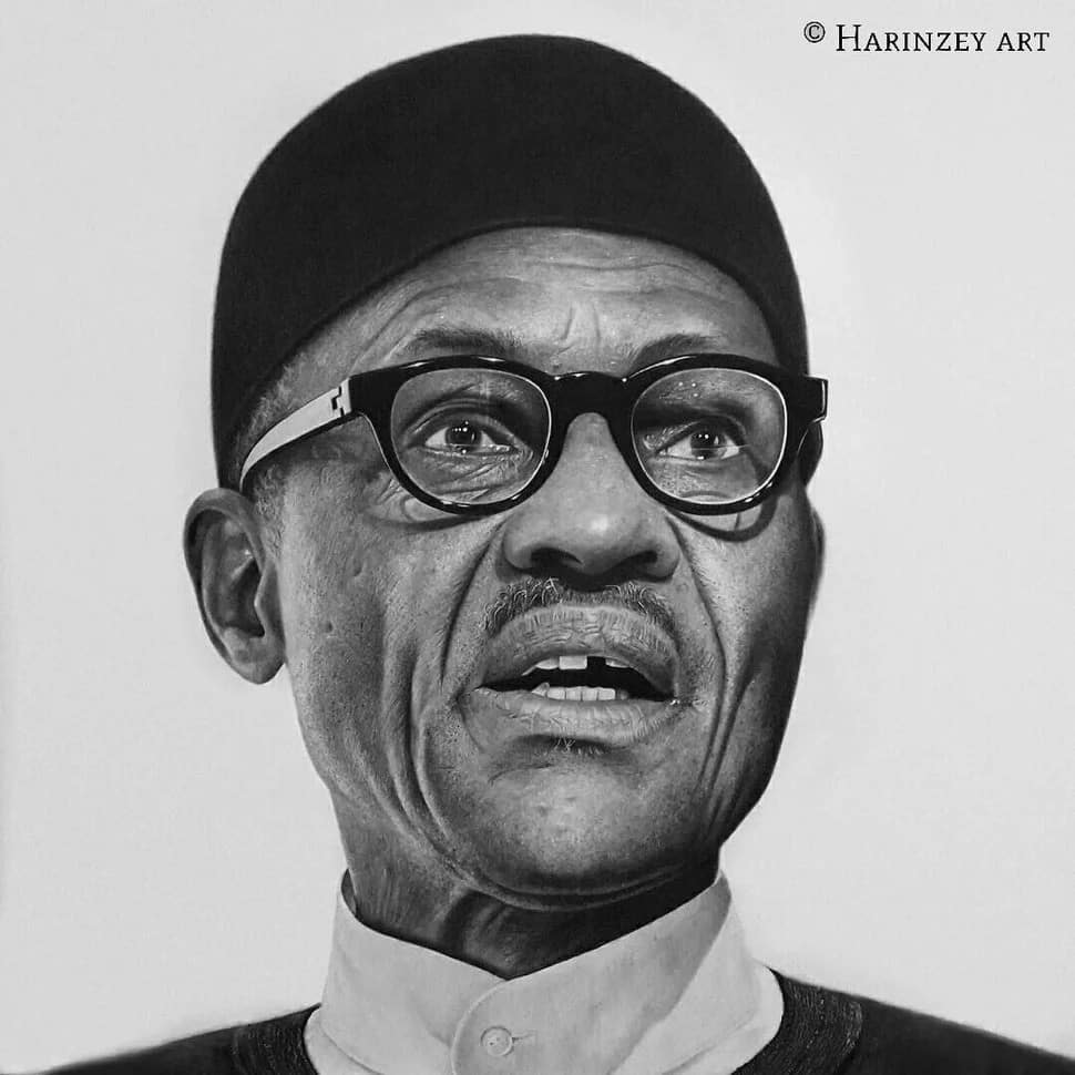 This pencil drawing of president buhari is one of his works