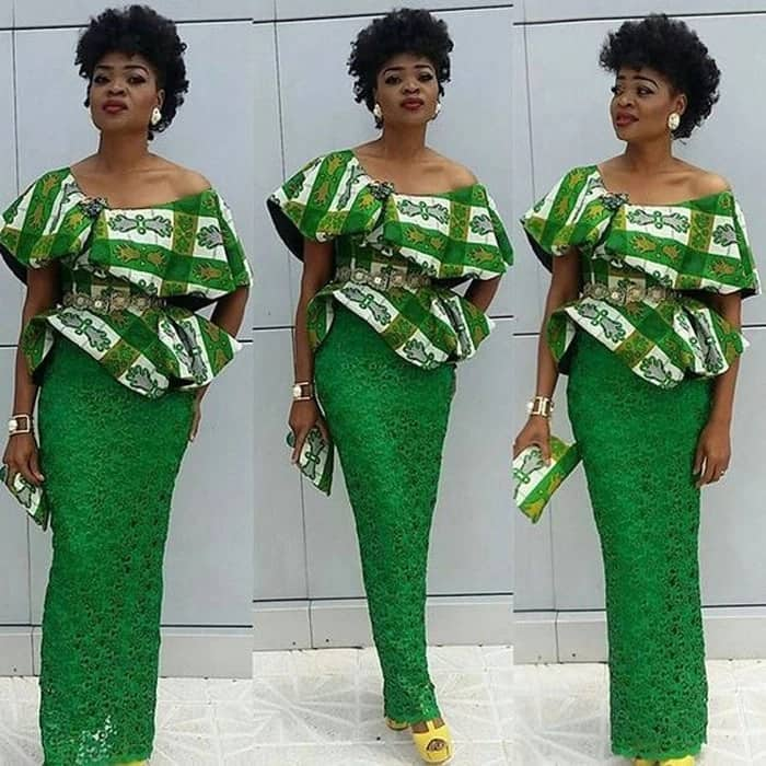 Ankara designs for skirt and blouse with frills on the neckline