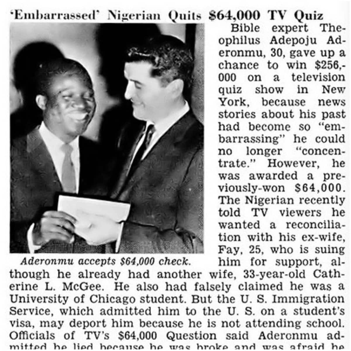 Meet Adepoju Aderonmu, the first black man to win $64,000 prize in the American CBS-TV quiz game show