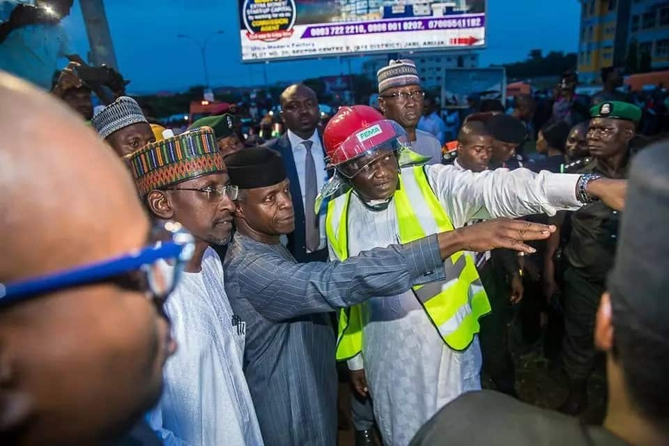Osinbajo visits collapsed building site in Abuja (photos)