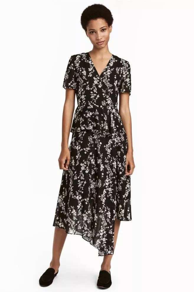 Chiffon gown with asymmetrical hemline