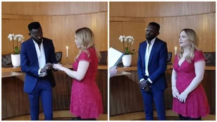 Few days after welcoming his first child, Nigerian singer officially weds his Oyinbo lover in a private ceremony (photos)