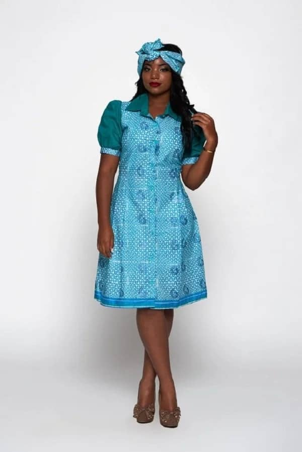 Ankara shirt dress with details of different colors