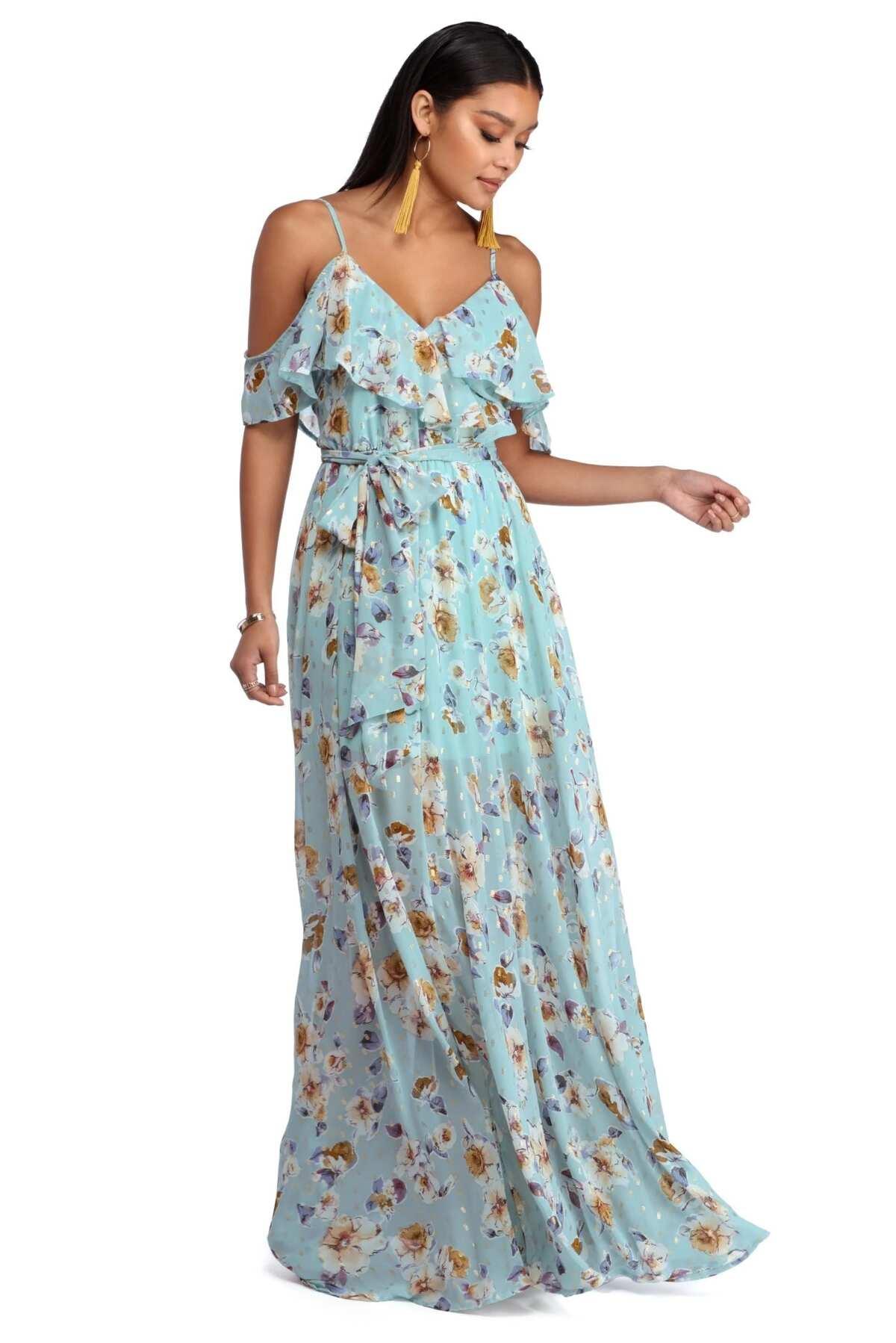 Long chiffon sundress with floral pattern