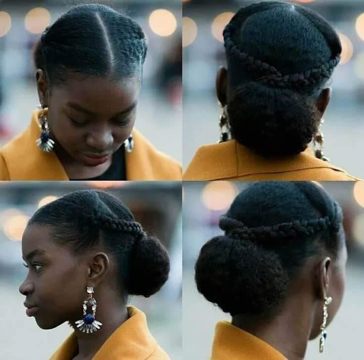 Packing gel hairstyle with bun and braids