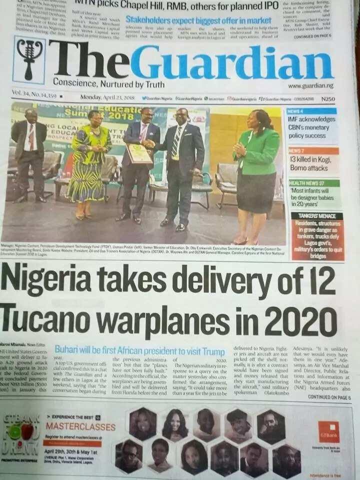 Newspaper headlines for Monday, April 23