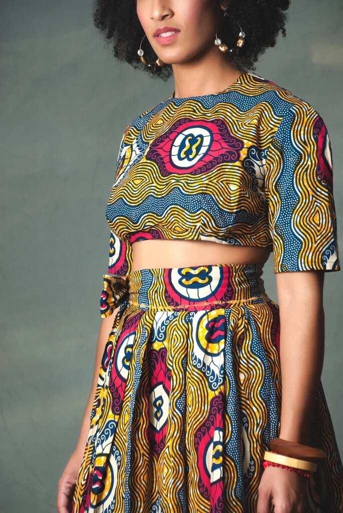 Crop top with a high waisted skirt