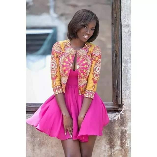 Unique Ankara styles 2017 - bright jacket and pink dress