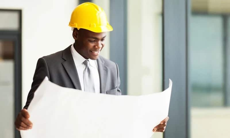 engineer with paper