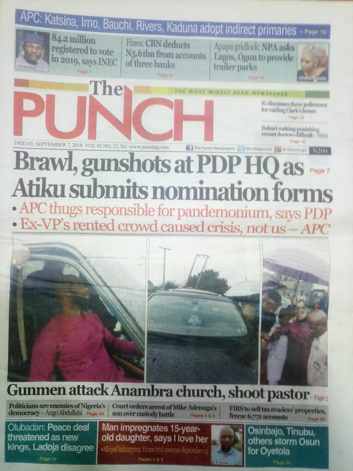 Newspaper review: Fight breaks out at PDP HQ as Atiku submits forms for 2019