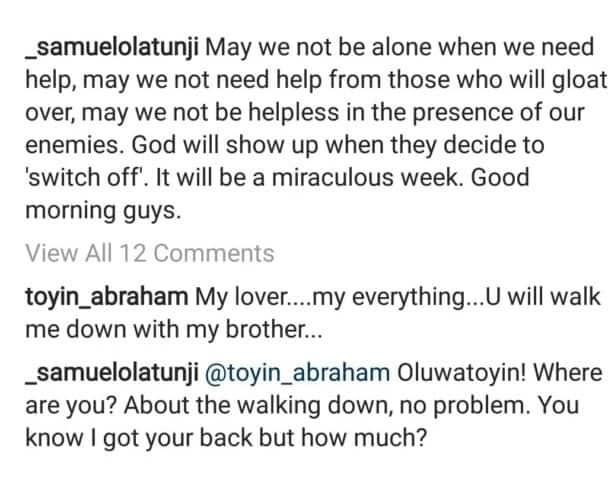 Actress, Toyin Abraham asks her publicist, Samuel Olatunji to walk her down the aisle on the big day
