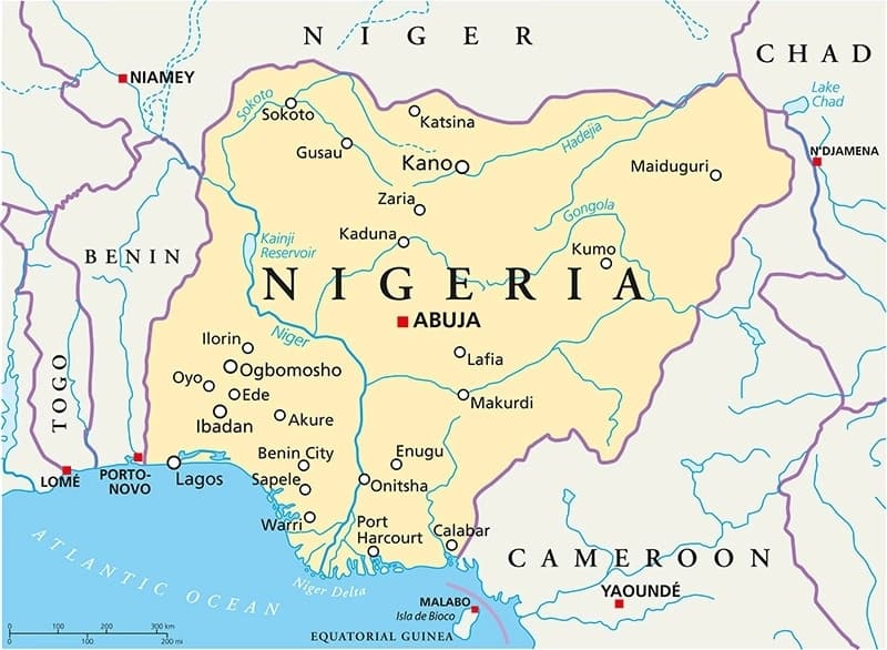 Fulani states in Nigeria map of the country