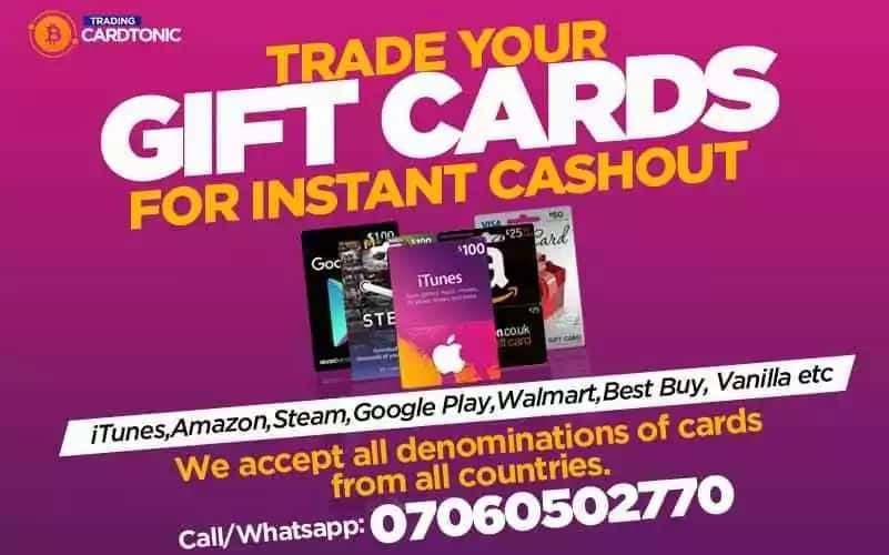 Best site to sell iTunes and Amazon gift cards in Nigeria - Cardtonic