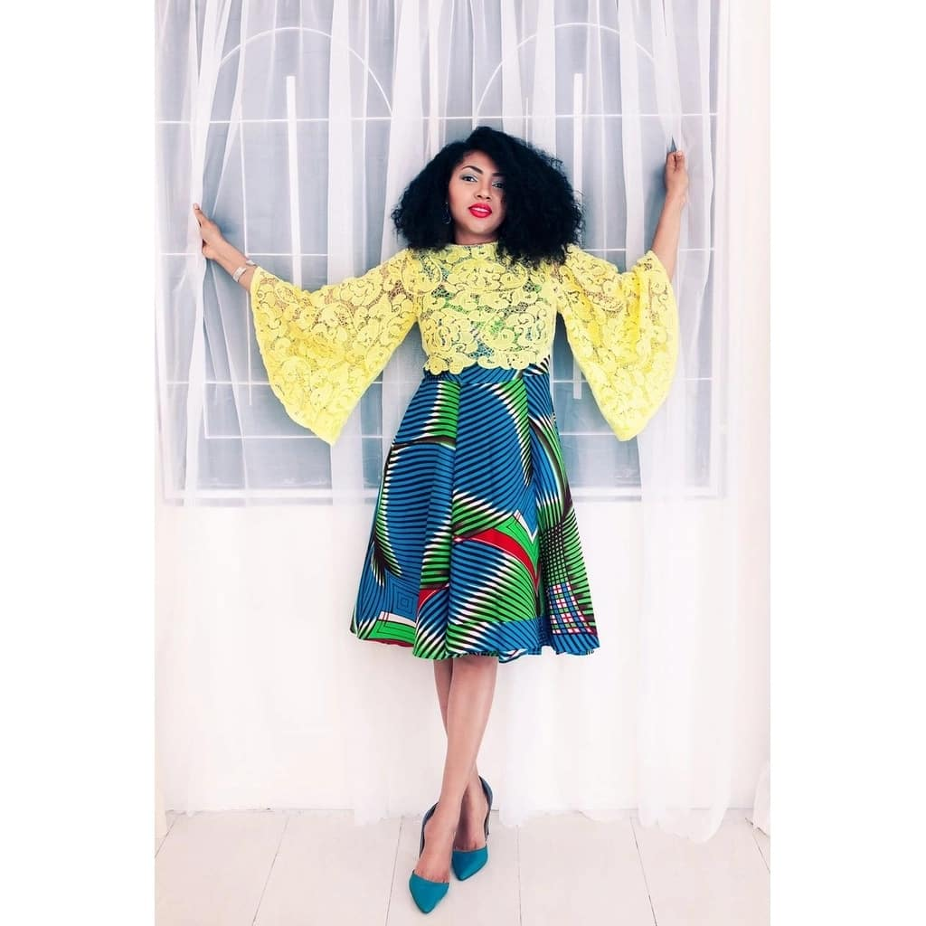 Ankara dress with yellow lace top