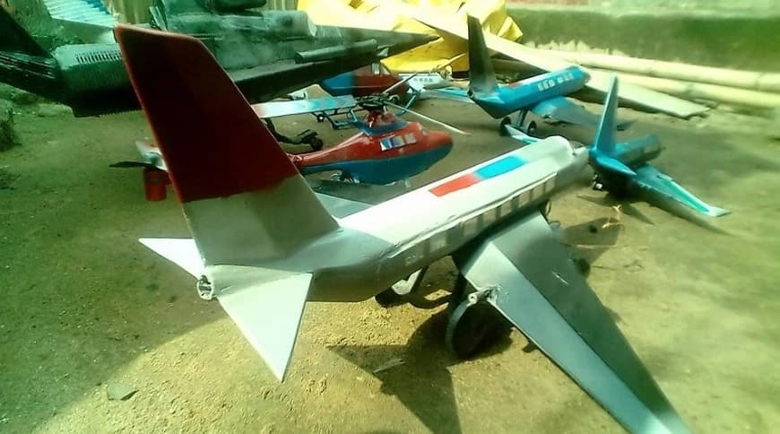 Talented Imo-based man Wisdom Ibeawuchi Eze constructs toy cars, helicopters, planes