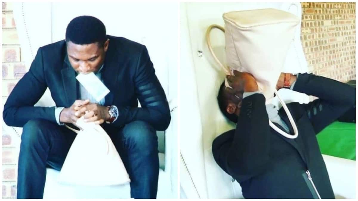 """Nigerian pastor Prophet Anointed CFM reportedly vomits """"miracle money"""" during service in S'Africa"""